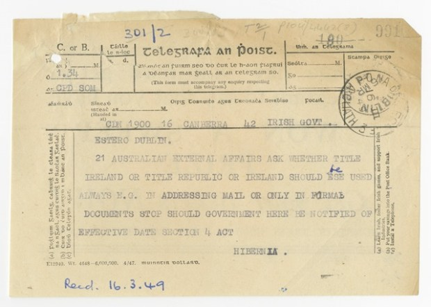 A telegram from the Irish embassy in Canberra to Dublin