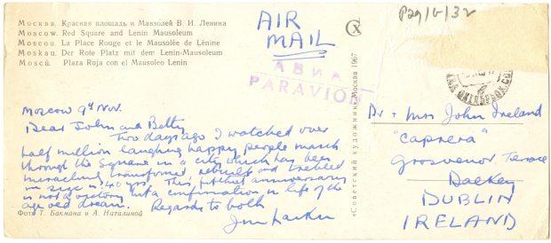 Postcard from Jim Larkin Jnr