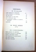 Contents of 'In Wicklow, West Kerry and Connemara' by J.M. Synge (1911).