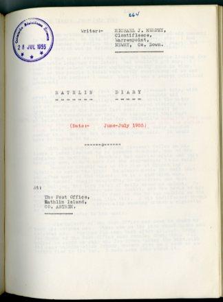 Michael J. Murphy Diary (NFC 1390/264)