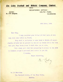 Letter from Celtic Football Club, Glasgow 30 October 1925 (UCDA P137/2).