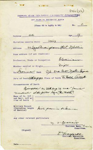 Seán Cole killed near The Thatch, 1922 (UCDA/P156/68).