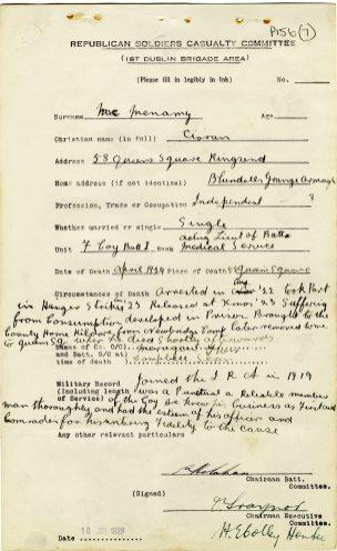 Ciaran McMenamy died from consumption, 1924 (UCDA/P156/7).
