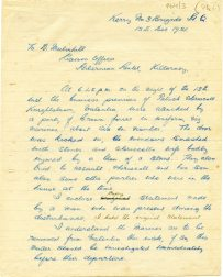 First page of letter from T. Higgins about attack on the O'Driscoll house by Crown Force Marines, 13 December 1921 (UCDA P64/3 (74)