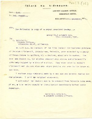 Accompanying letter from the Assistant Adjutant & Brigade Liaison Officer, 17 December 1921 (UCDA P64/3 (75)