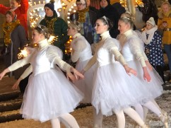 Ballerinas dancing in the snow outside the Bolshoi theatre