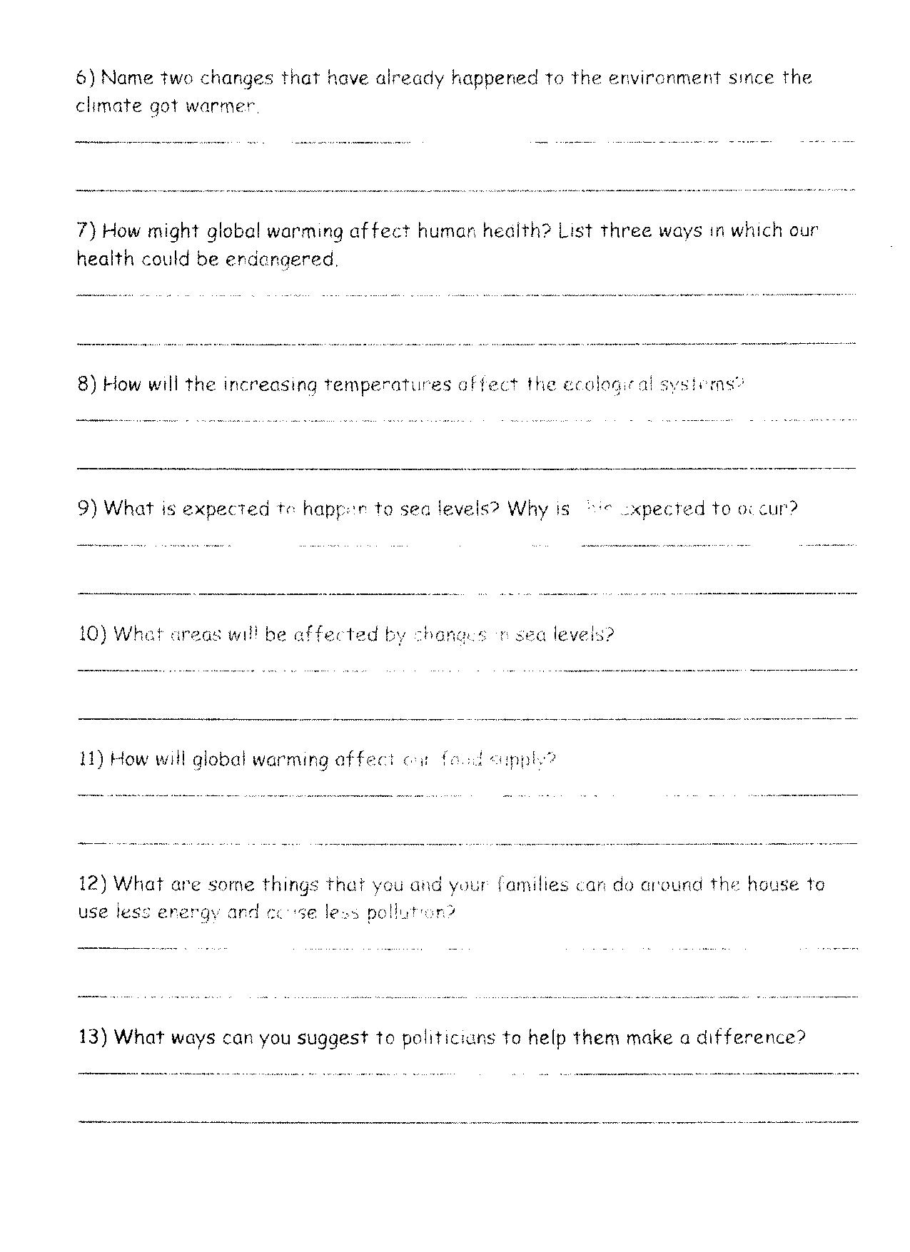 Global Climate Change Worksheet