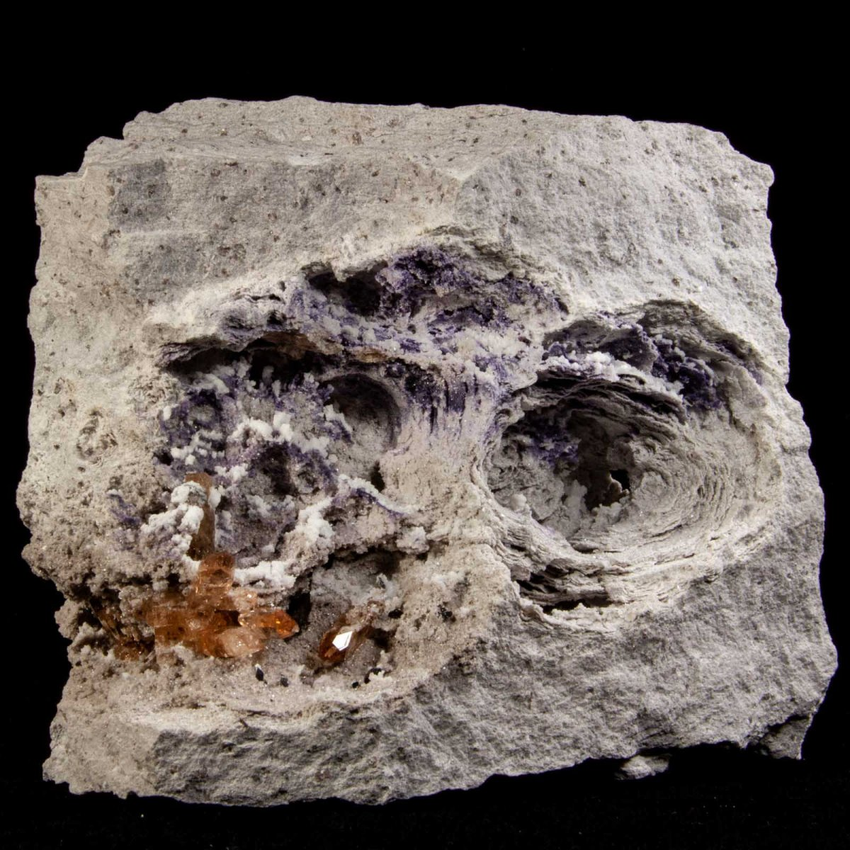 Topaz and Fluorite in Rhyolite