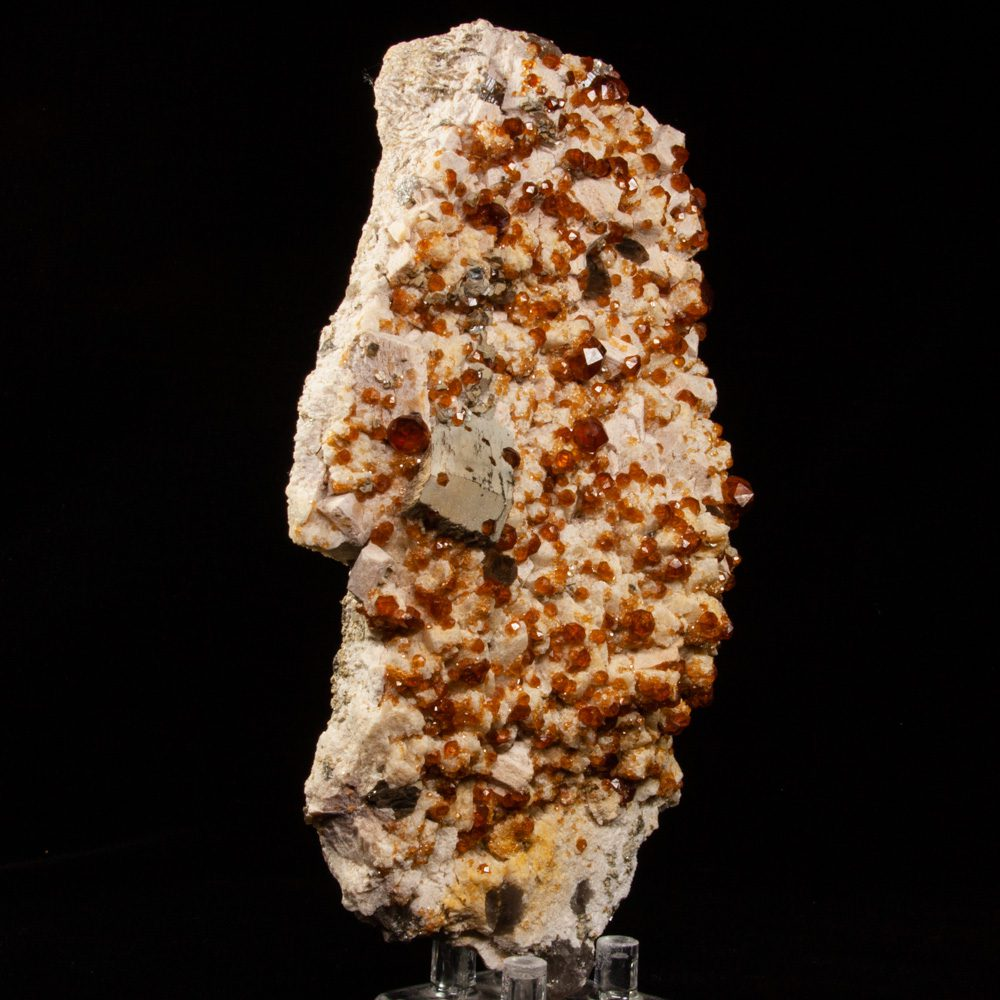 Spessartine Garnets on Albite