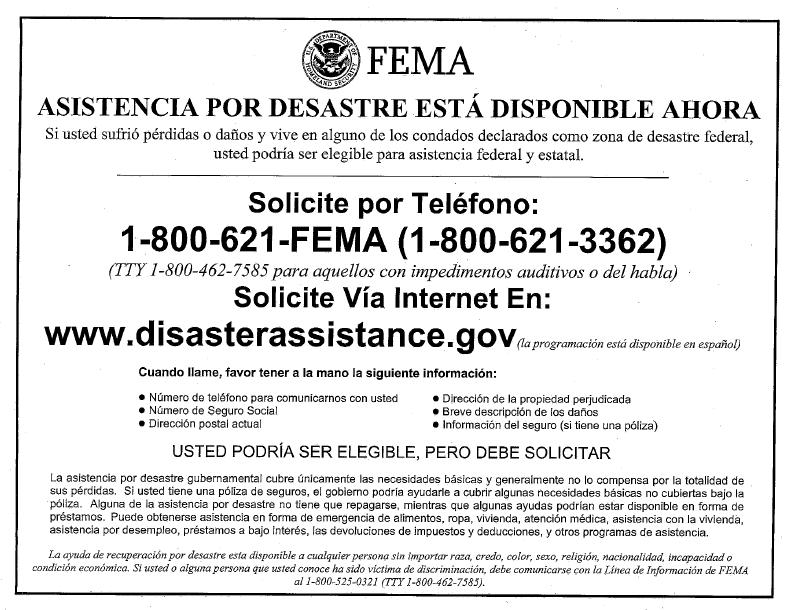 FEMA Flyer Spanish