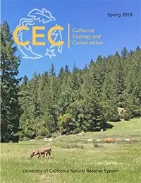 Cover of Spring 2018 issue of CEC Research showing deer grazing in a meadow with conifers and colorful camping tents in the background