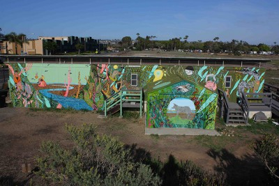 The trailer that serves as a classroom and headquarters for the Kendall-Frost Mission Bay Marsh Reserve is now graced by a colorful mural. Image credit: Isabelle Kay