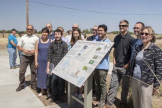 UC Merced students and others who helped contribute to the new sign at the entrance to the reserve. Image courtesy UC Merced