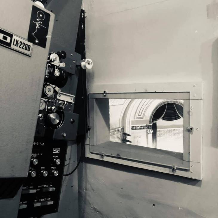 The Main Stage projection booth window