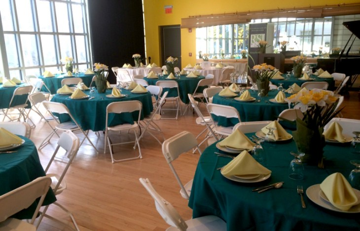 The Fazioli Room set up for a party rental