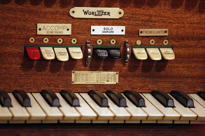 "UCPAC's ""Biggest Little Wurlitzer"" - closeup detail of keys and switches"