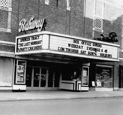 """The Rahway Theatre"" - the UCPAC Main Stage marquee before the center was renamed in 1985"