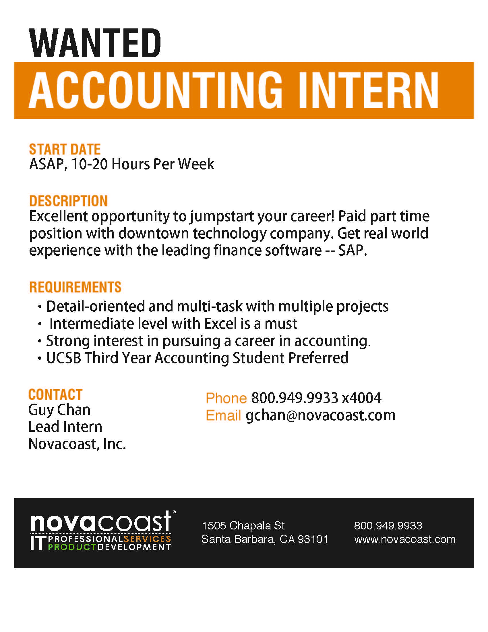 novocoast wanted accounting intern santa barbara career