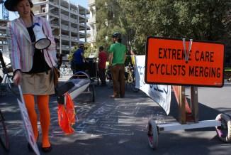 Cyclists merging - photo by Davena Watkin