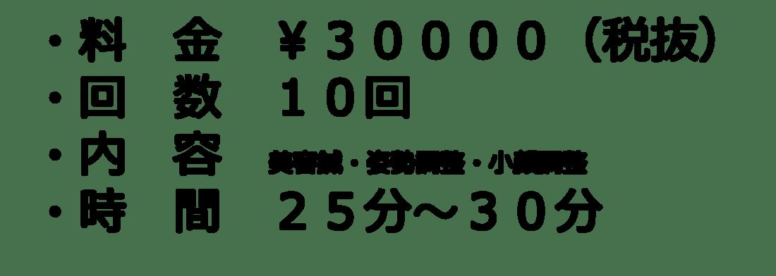 料金¥30000(税抜) 回数10回 内容:美容鍼・姿勢調整・小顔調整 時間25〜30分