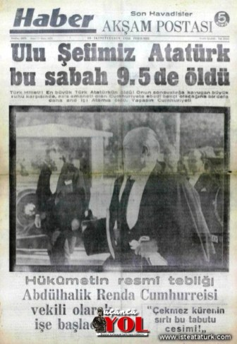 10 kasım 1938 gazete manşetleri (20)