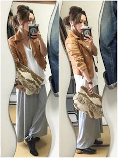 1キャメルのライダースジャケット×白Tシャツ×マキシ丈スカート