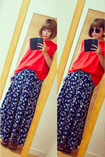 2花柄のスカーチョ×ロングTシャツ