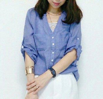 ゴールドバングル2連×スキッパーシャツ