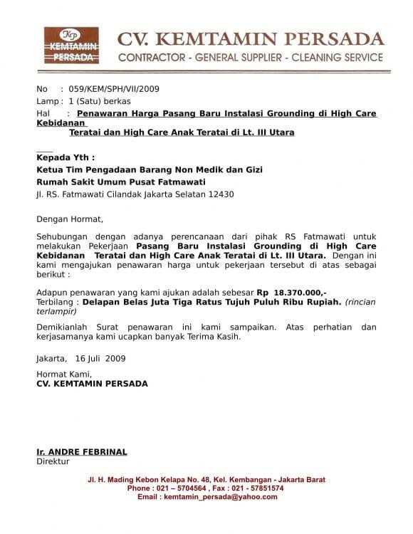 Contoh Surat Penawaran Barang Lemari