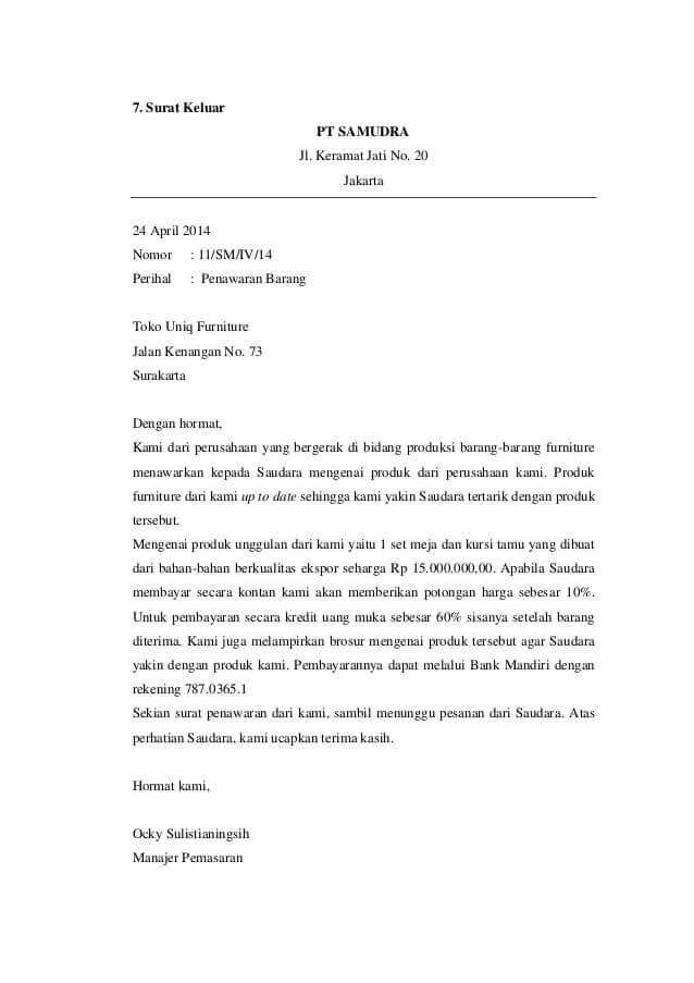contoh surat penawaran barang furniture