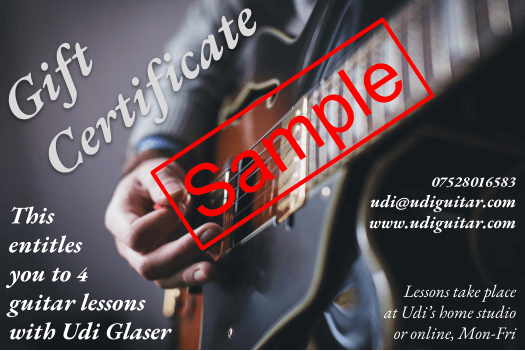 guitar lessons gift certificate, a great present for Christmas x-mas valentine's day birthday