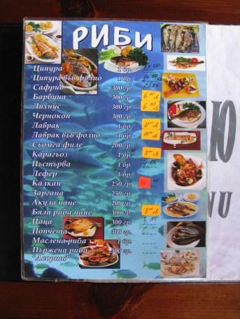 jedilni list restavracije na obali