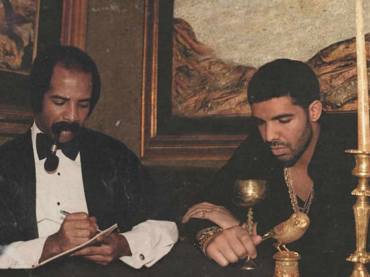 Drake with his dad for a cover