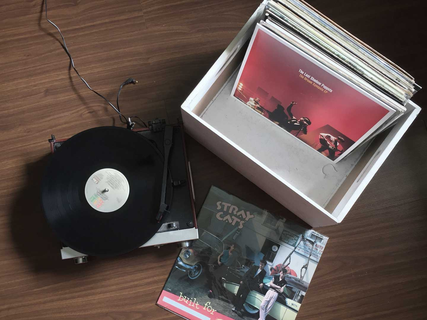 A crate of vinyl featuring Stray Cats and The Last Shadow Puppets