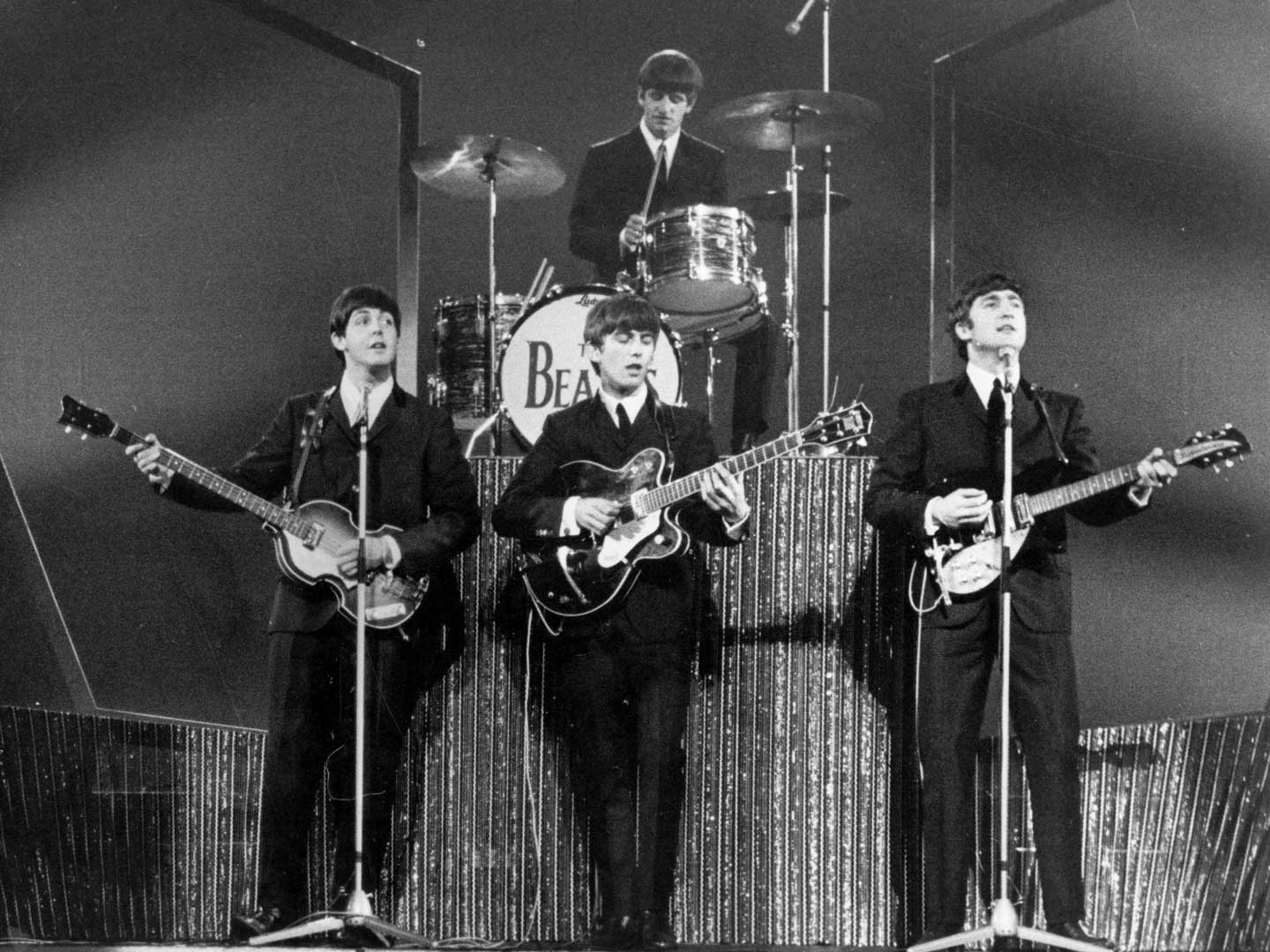 The Beatles performing at the London Palladium