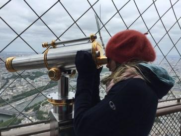 Amalia at the summit of the Eiffel Tower