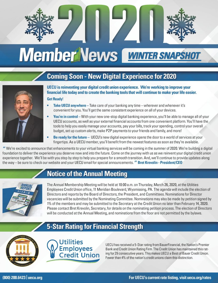 Image of the front page of 2020 Member News Winter Snapshot
