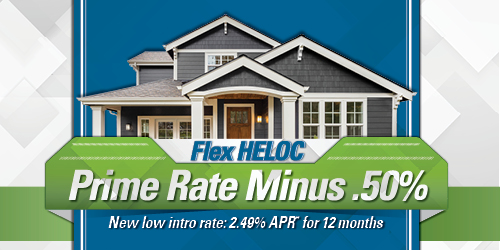 Flex HELOC image of house noting Prime Rate Minus .50% and new low intro rate of 2.49% for 12 months