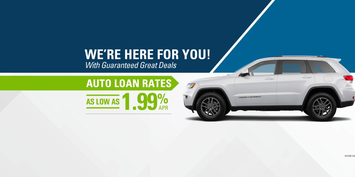 Auto loan image of jeep noting rates as low as 1.99%