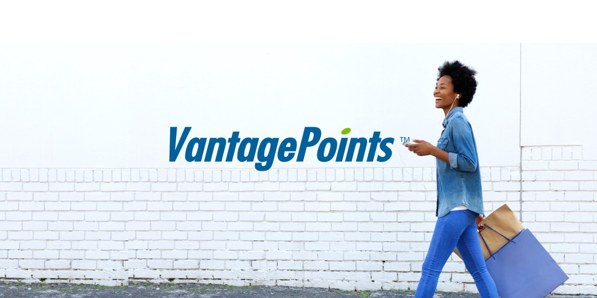 VantagePoints Logo with happy woman walking and holding shopping bags