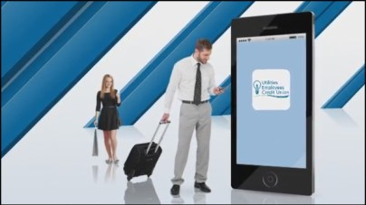 Man and woman using mobile phone with phone showing UECU app logo