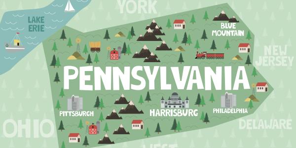 Folk art style Pennsylvania map image
