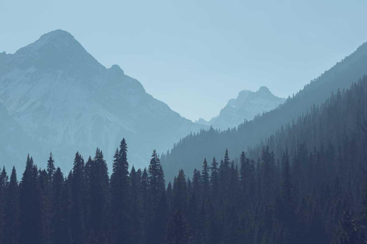 distant smoky image of a mountain range