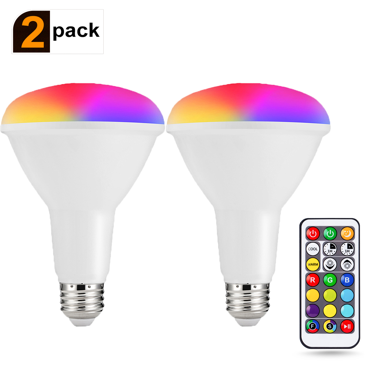br30 rgb led flood lights 100w equivalent warm cool white light bulb 12w dimmable recessed lighting remote control color changing lights 2 pack