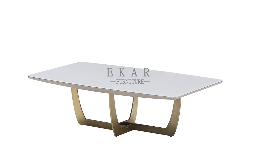 metal frame in yellow copper plating coffee table with round glass top coffee table