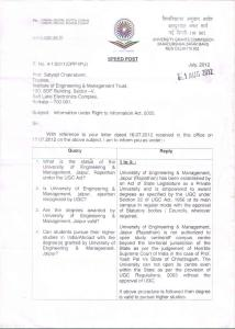 """""""Letter from UGC on the recognition of UEM, Jaipur."""""""