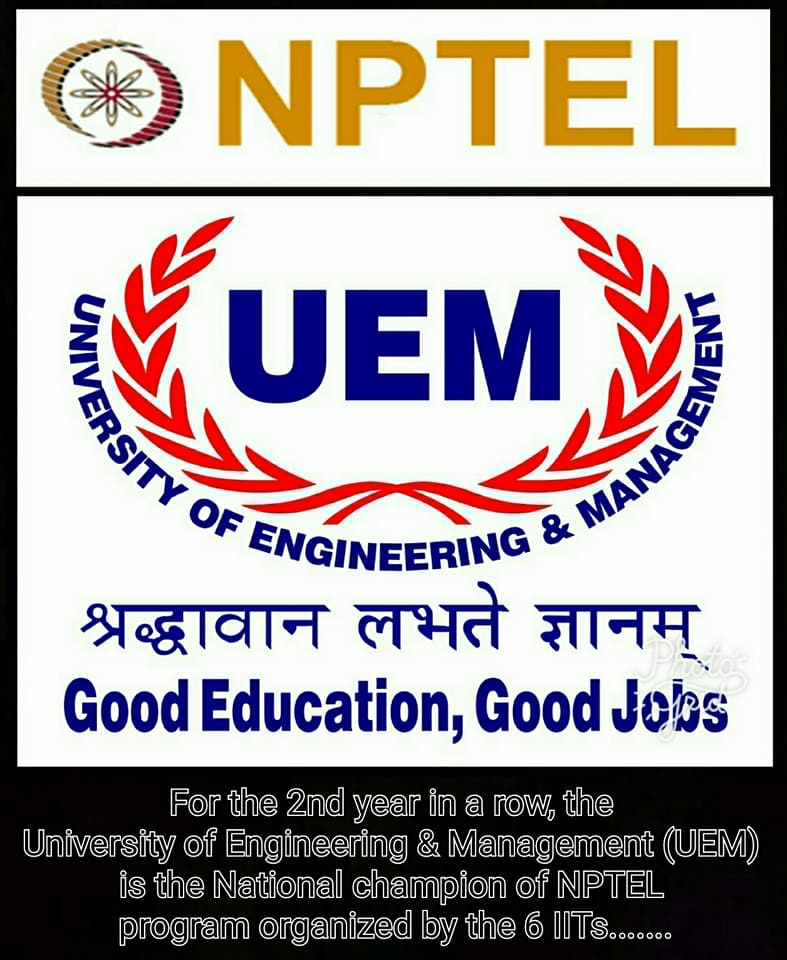 UEM is the National Champion of NPTEL program organized by