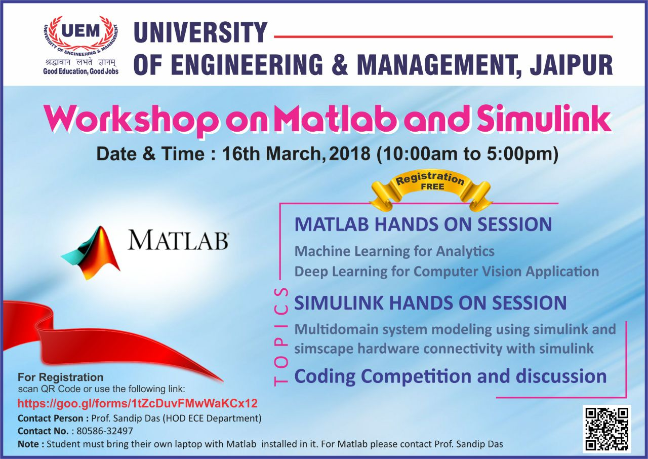 Workshop on Matlab & Simulink at UEM, Jaipur - IEM UEM Group
