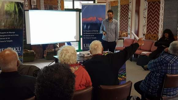 Uncle Buddy gives some korero at our Whanganui road show.