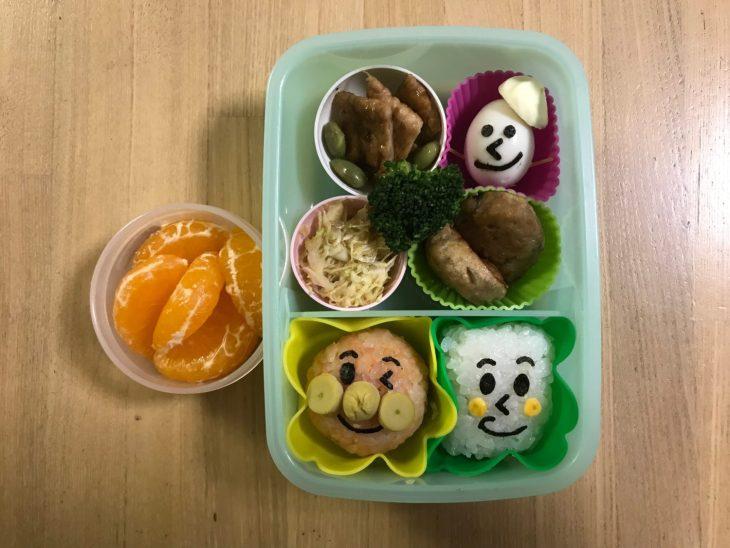 くるりんの今日のお弁当 2017.12.6. 「アンパンマン」と「しょくぱんまん」と「オラフ」